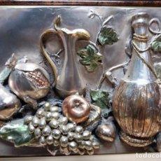 Antigüedades: CUADRO BODEGÓN RELIEVE BAÑADO PLATA. Lote 152593614