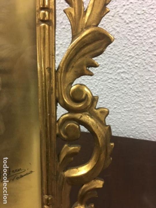 Antigüedades: Excelente y Antiguo Marco porta fotos de madera y dorado pan de oro 32x34 ventana 23x16,5 - Foto 9 - 152629774