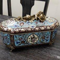 Antigüedades: JOYERO COFRE CLOISONNE FRANCES DATA 1900. Lote 152698434