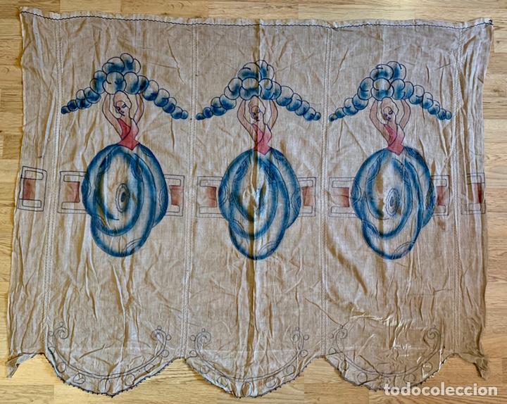 ANTIGUA CORTINA O VISILLO BORDADA A MANO ART DÉCO, ESPAÑA, CIRCA 1920 (Antigüedades - Hogar y Decoración - Cortinas Antiguas)