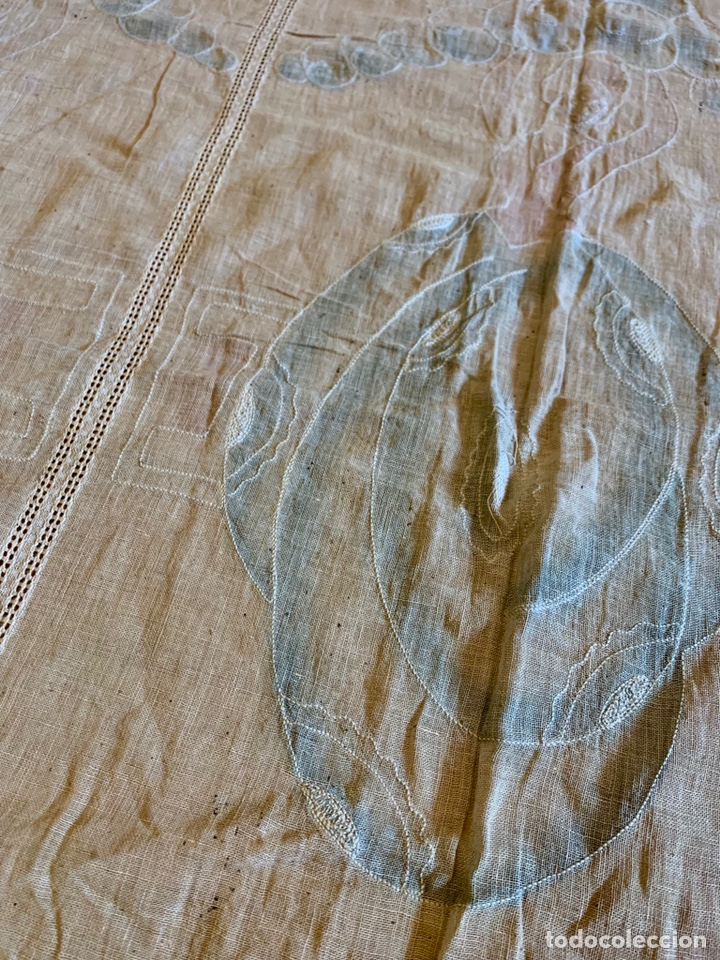 Antigüedades: Antigua cortina o visillo bordada a mano Art Déco, España, circa 1920 - Foto 7 - 152717268