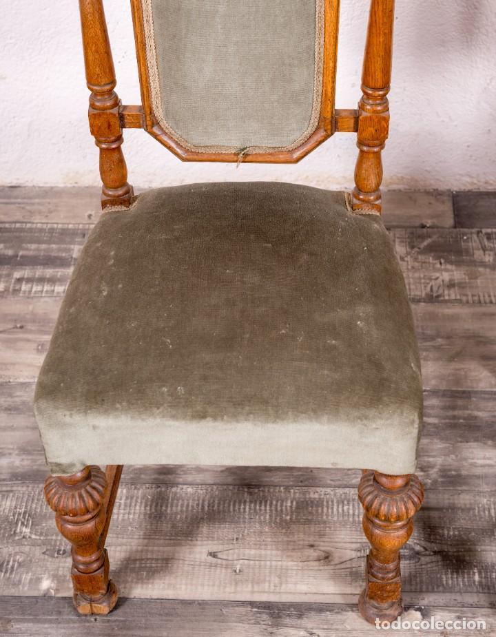 Antigüedades: Pareja De Sillas Antiguas De Roble - Foto 4 - 152723458