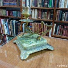 Antigüedades: PALMATORIA ANTIGUA ONIX VERDE Y BRONCE. Lote 152769442