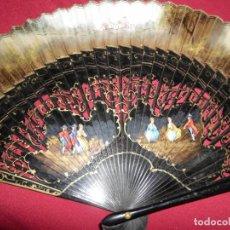 Antigüedades: ANTIGUO ABANICO MADERA PINTADO A MANO. Lote 152777066