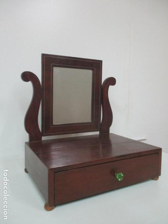 Antigüedades: Bonito Tocador Isabelino - Peinador - Espejo - Madera de Caoba - con Cajón y Tirador de Cristal -XIX - Foto 2 - 152778010