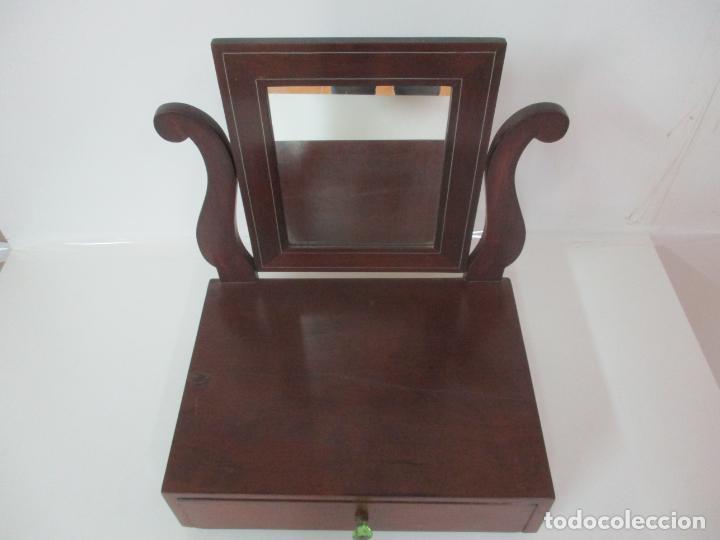 Antigüedades: Bonito Tocador Isabelino - Peinador - Espejo - Madera de Caoba - con Cajón y Tirador de Cristal -XIX - Foto 7 - 152778010