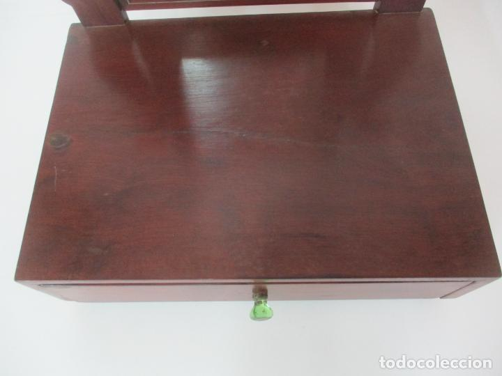 Antigüedades: Bonito Tocador Isabelino - Peinador - Espejo - Madera de Caoba - con Cajón y Tirador de Cristal -XIX - Foto 8 - 152778010