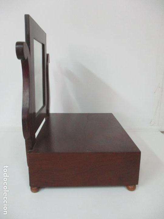 Antigüedades: Bonito Tocador Isabelino - Peinador - Espejo - Madera de Caoba - con Cajón y Tirador de Cristal -XIX - Foto 12 - 152778010