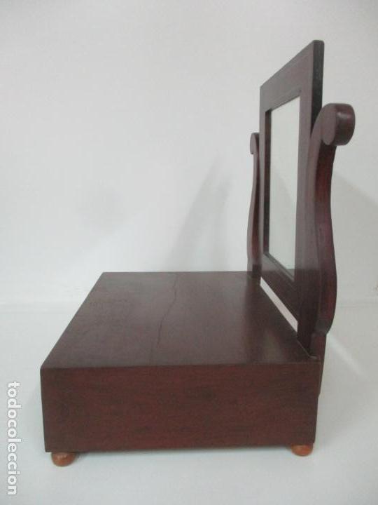Antigüedades: Bonito Tocador Isabelino - Peinador - Espejo - Madera de Caoba - con Cajón y Tirador de Cristal -XIX - Foto 14 - 152778010