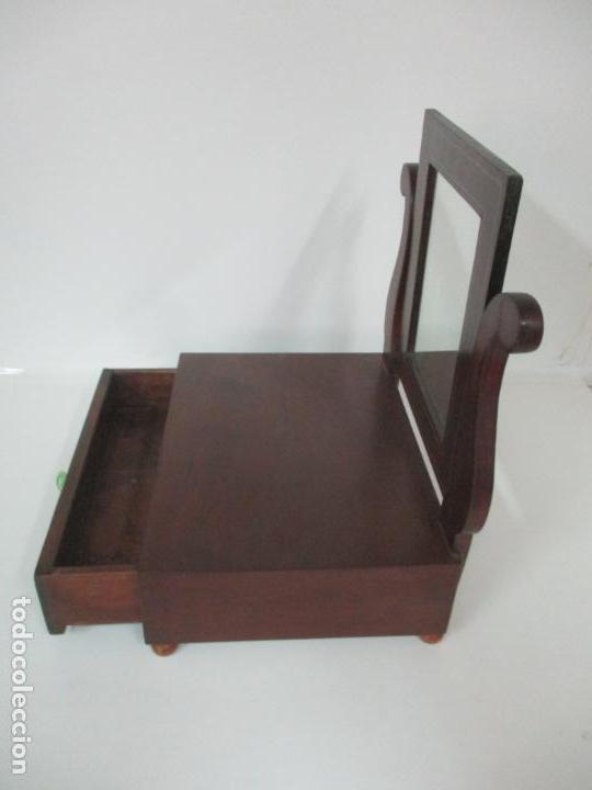 Antigüedades: Bonito Tocador Isabelino - Peinador - Espejo - Madera de Caoba - con Cajón y Tirador de Cristal -XIX - Foto 15 - 152778010