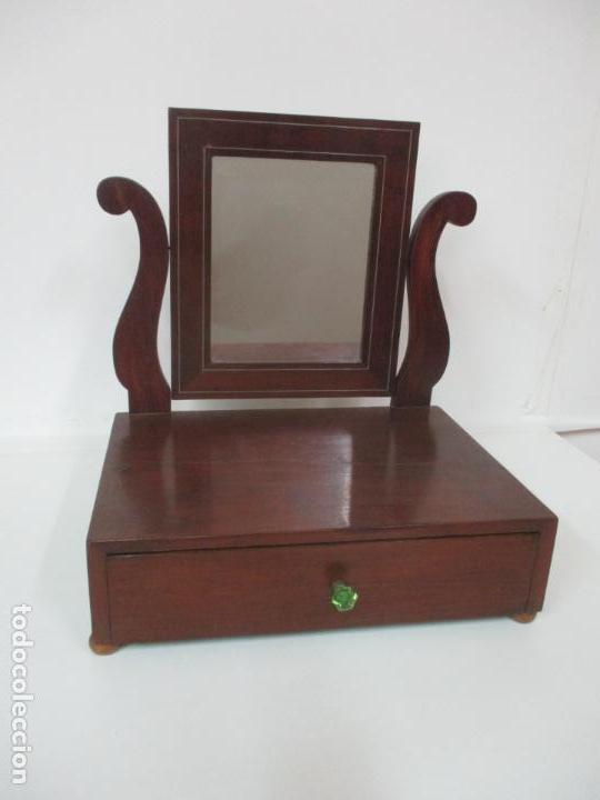 Antigüedades: Bonito Tocador Isabelino - Peinador - Espejo - Madera de Caoba - con Cajón y Tirador de Cristal -XIX - Foto 16 - 152778010