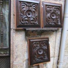 Antigüedades: LOTE 3 PLAFONES EN MADERA HACIA - RELIEVE, TALLA CASTAÑO, TECHUMBRES ARTESONADOS ETC + INFO. Lote 152805989
