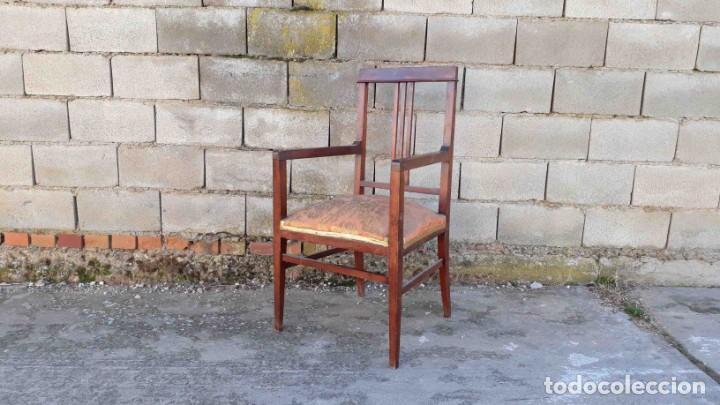 Antigüedades: Pareja de sillones antiguos estilo art decó. Dos sillas butacas antiguas estilo modernista. - Foto 2 - 152813742