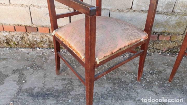 Antigüedades: Pareja de sillones antiguos estilo art decó. Dos sillas butacas antiguas estilo modernista. - Foto 7 - 152813742