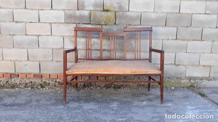 Antigüedades: Pareja de sillones antiguos estilo art decó. Dos sillas butacas antiguas estilo modernista. - Foto 8 - 152813742