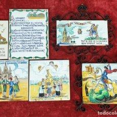 Antigüedades: COLECCIÓN DE 6 AZULEJOS. CERÁMICA CATALANA. ESMALTADA Y PINTADA A MANO. SIGLO XX.. Lote 152855626