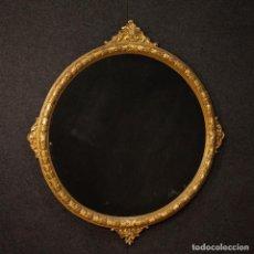 Antigüedades - Espejo italiano redondo en madera dorada - 152869378