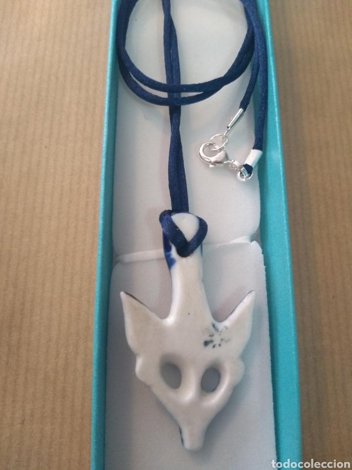 Antigüedades: Fetiche Nº 8 Cornaberto Amuleto Colgante Sargadelos + Cordon de Seda Azul - Foto 2 - 152875625