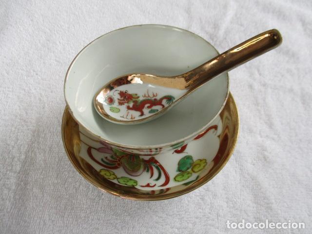 ANTIGUO CUENCO, PLATO Y CUCHARA . MARCAS CHINAS EN LA BASE. (Antigüedades - Porcelanas y Cerámicas - China)