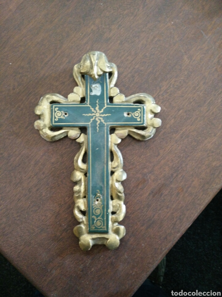CRUZ POLICROMADA (Antigüedades - Religiosas - Cruces Antiguas)