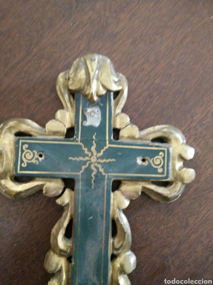 Antigüedades: Cruz policromada - Foto 2 - 152907416