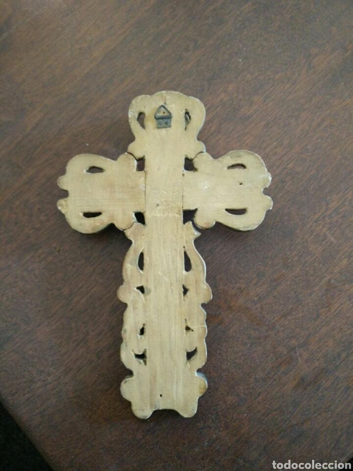 Antigüedades: Cruz policromada - Foto 3 - 152907416