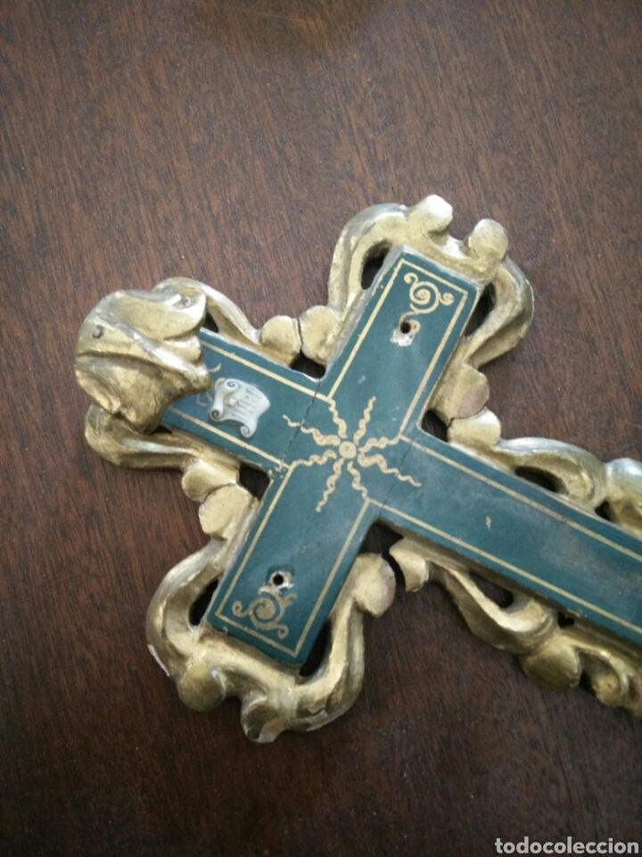 Antigüedades: Cruz policromada - Foto 6 - 152907416