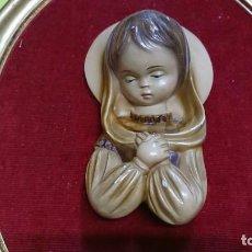 Antigüedades: CUADRO VINTAGE CON FIGURA VIRGEN MARIA. Lote 152932754