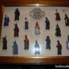 Antigüedades: 2 CUADROS RELIGIOSOS DE LA SEMANA SANTA DE LEÓN PAPONES NAZARENOS Y ESCUDOS DE HERMANDADES PERFECTOS. Lote 152946378