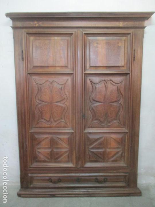 Antigüedades: Antiguo Armario Catalán, Barroco - Armario Empotrado - Puertas y Marco - Madera Nogal - Año 1768 - Foto 30 - 153012338