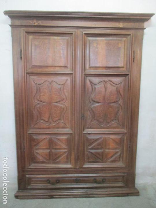 Antigüedades: Antiguo Armario Catalán, Barroco - Armario Empotrado - Puertas y Marco - Madera Nogal - Año 1768 - Foto 37 - 153012338
