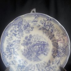 Antigüedades: PLATO DE PORCELANA IRONSTONE TABLEWARE PATENTED DESIGN ESCENA ROMÁNTICA. Lote 153038921
