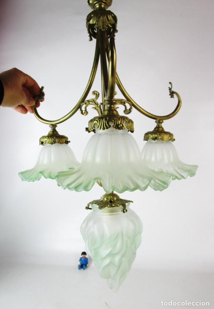 EXCEPCIONAL LAMPARA RESTAURADA MODERNISTA EN BRONCE Y CRISTAL VERDE CIRCA 1920 BIBLIOTECA SALON (Antigüedades - Iluminación - Lámparas Antiguas)