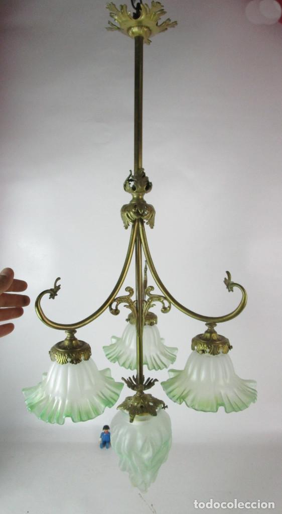 Antigüedades: EXCEPCIONAL LAMPARA RESTAURADA MODERNISTA EN BRONCE Y CRISTAL VERDE CIRCA 1920 BIBLIOTECA SALON - Foto 5 - 153045026