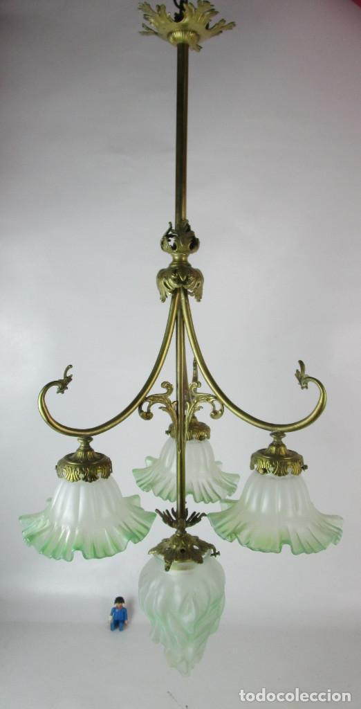 Antigüedades: EXCEPCIONAL LAMPARA RESTAURADA MODERNISTA EN BRONCE Y CRISTAL VERDE CIRCA 1920 BIBLIOTECA SALON - Foto 6 - 153045026