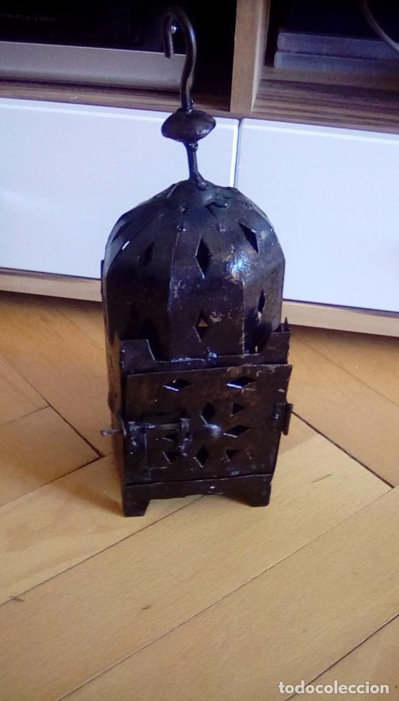 Antigüedades: Antiguo farol para vela. Metal. - Foto 2 - 153059218