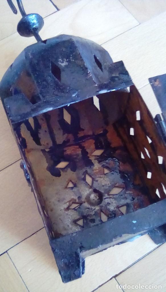 Antigüedades: Antiguo farol para vela. Metal. - Foto 3 - 153059218