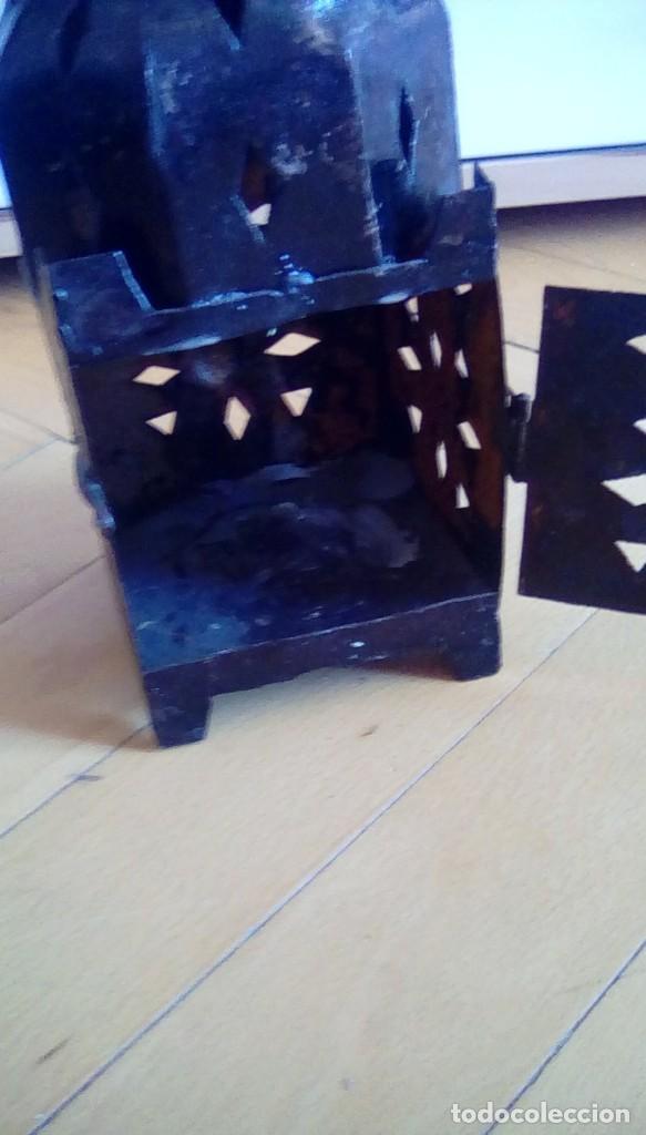 Antigüedades: Antiguo farol para vela. Metal. - Foto 4 - 153059218