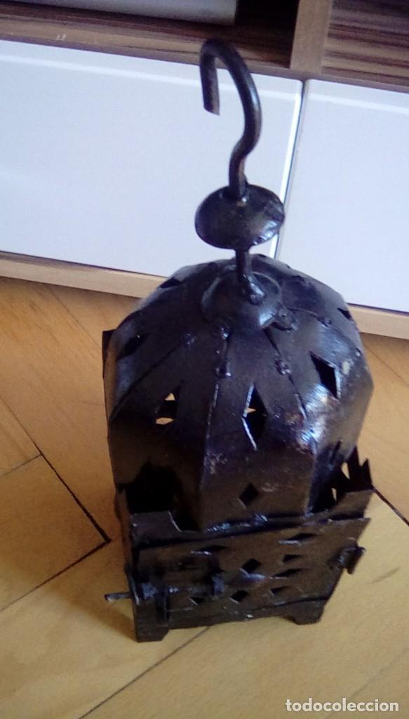 Antigüedades: Antiguo farol para vela. Metal. - Foto 5 - 153059218