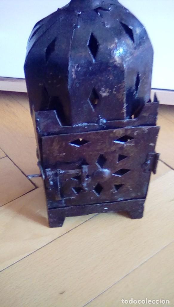 Antigüedades: Antiguo farol para vela. Metal. - Foto 6 - 153059218