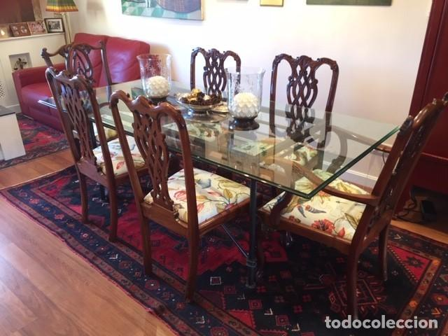 Mesa comedor cristal con sillas chipendalle de - Verkauft ...