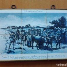 Antigüedades: MURAL CERÁMICO, CUANDO D. QUIJOTE SE VIO DE AQUELLA MANERA ENJAULADO… 6 AZULEJOS DE 15X15 . Lote 156565802