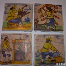 Antigüedades: CUATRO BONITOS AZULEJOS DE OFICIOS.. Lote 153128006
