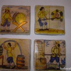 Antigüedades: CUATRO BONITOS AZULEJOS DE OFICIOS.. Lote 153128122