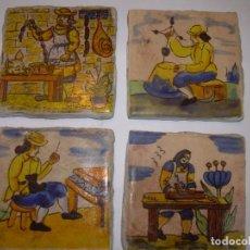 Antigüedades: CUATRO BONITOS AZULEJOS DE OFICIOS.. Lote 153128198