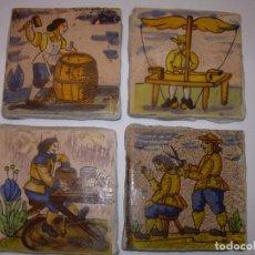 Antigüedades: CUATRO BONITOS AZULEJOS DE OFICIOS.. Lote 153128298