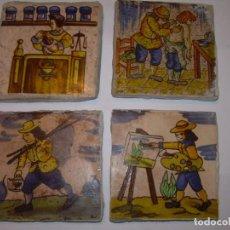 Antigüedades: CUATRO BONITOS AZULEJOS DE OFICIOS.. Lote 153128386