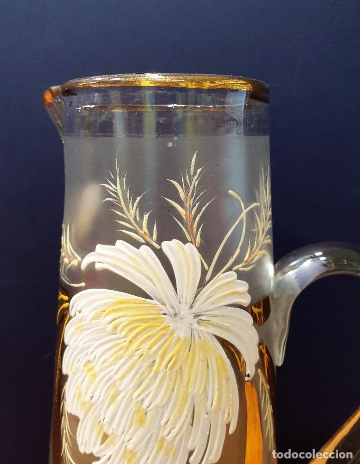 Antigüedades: Jarra de cerveza de cristal esmaltado con borde dorado. La Industria, fábrica de vidrios de Gijón. - Foto 5 - 153152474
