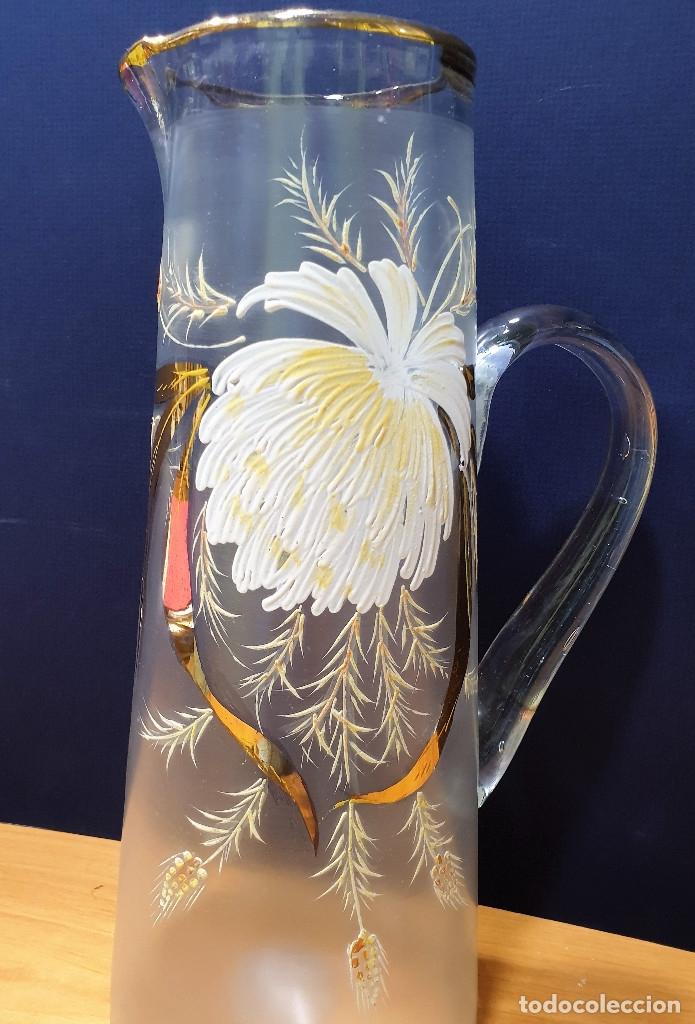 Antigüedades: Jarra de cerveza de cristal esmaltado con borde dorado. La Industria, fábrica de vidrios de Gijón. - Foto 3 - 153152474