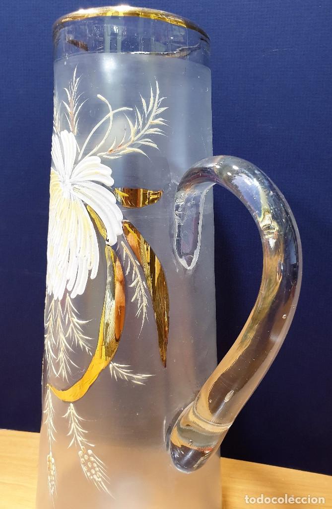 Antigüedades: Jarra de cerveza de cristal esmaltado con borde dorado. La Industria, fábrica de vidrios de Gijón. - Foto 4 - 153152474